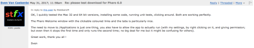 Pharo 6 Clickable coloured links in Welcome Window cited in a forum