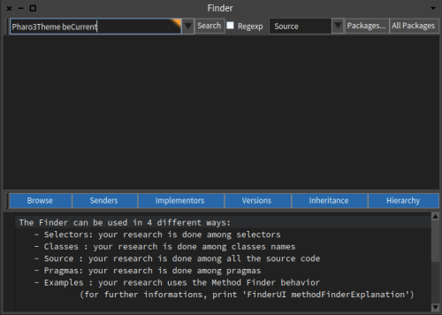 Pharo 6 Finder Tool Window Edit Box with Pharo3Theme beCurrent