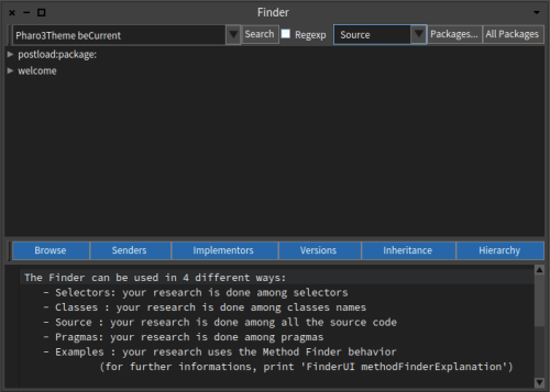 Pharo 6 Finder Tool Window Pharo3Theme beCurrent search source result