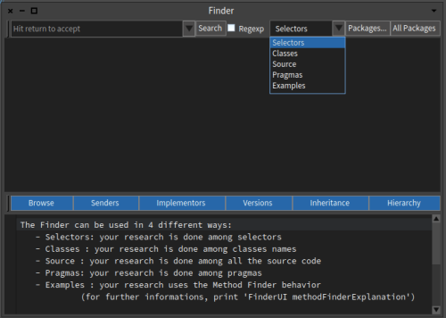 Pharo 6 Finder Tool Window Selecting Sources
