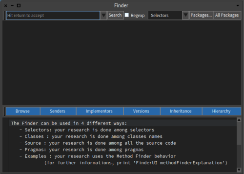 Pharo 6 Finder Tool Window