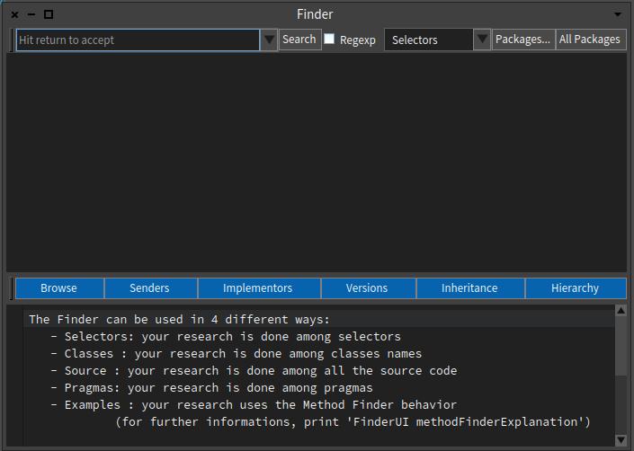 Pharo 6 Finder Tool Window