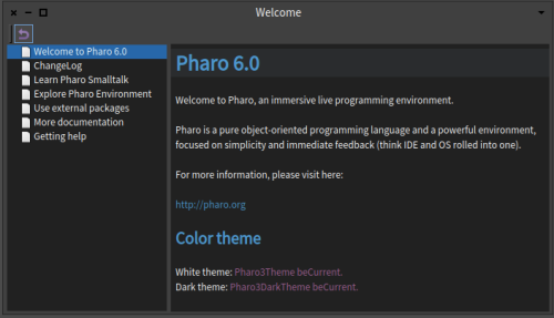 Pharo 6 Welcome Window