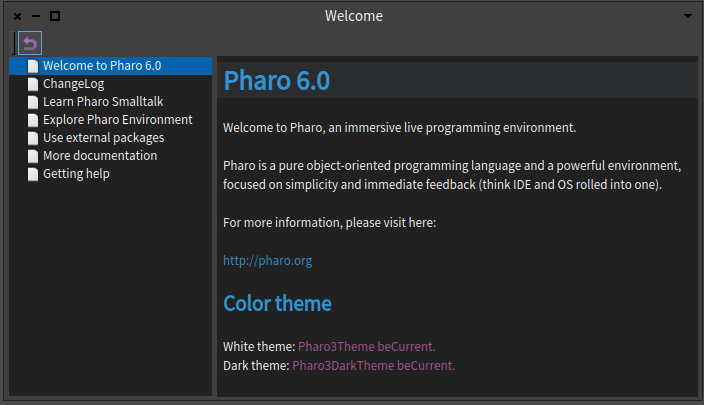 Pharo 6 Welcome Window