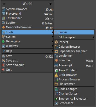 Pharo 6 World Tools Finder menu selected