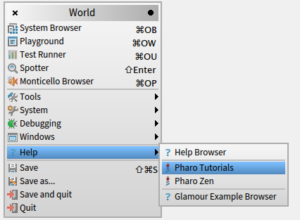pharo6-pharo-tutorials-submenu
