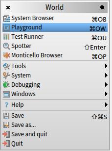 pharo6-world-playground-menu-selected